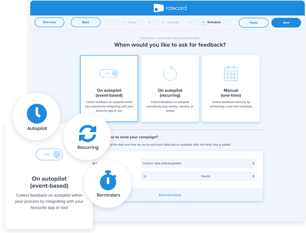 Campaign scheduler to collect feedback on autopilot and measure your candidate experience via Ratecard